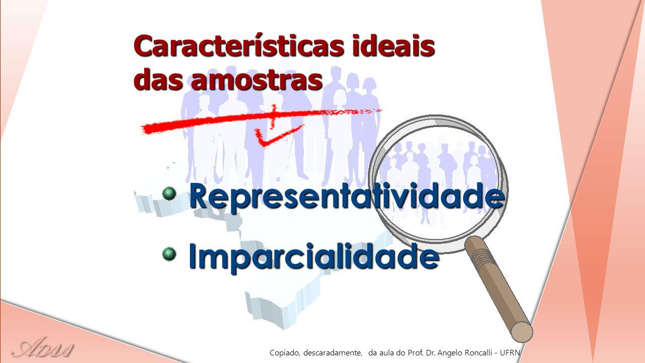 A D ss Características ideais das amostras RepresentatividadeImparcialidade Copiado, descaradamente, da aula do Prof. Dr. Angelo Roncalli - UFRN
