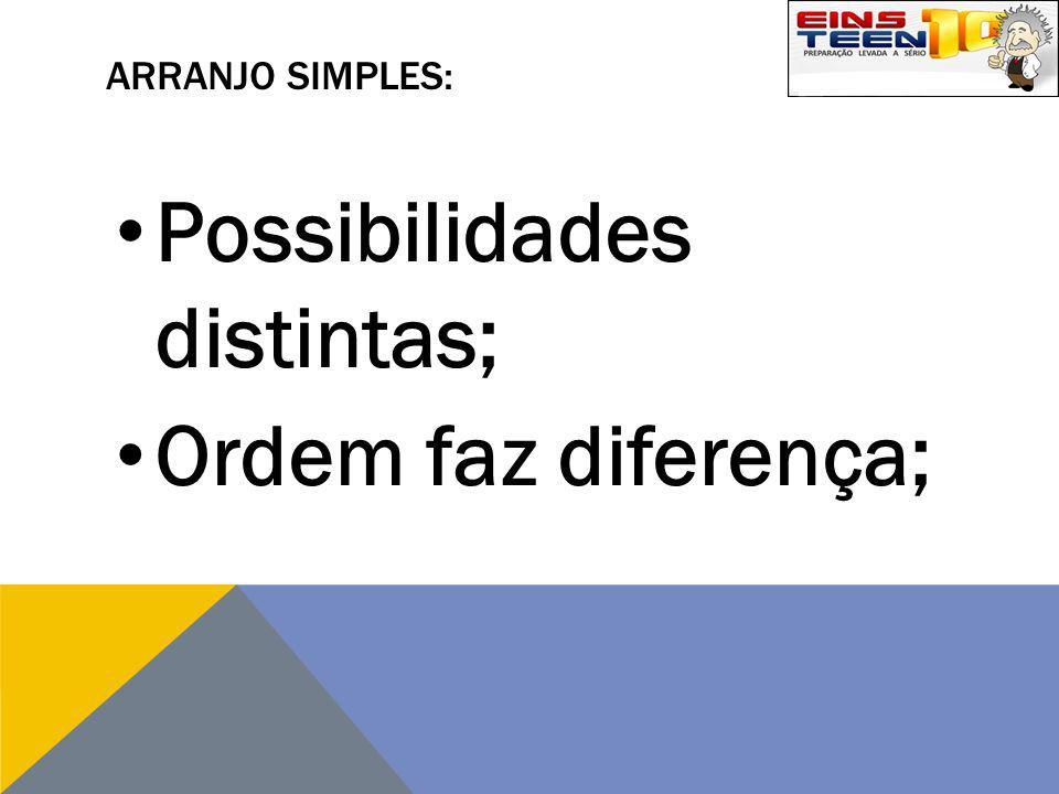 ARRANJO SIMPLES: Possibilidades distintas; Ordem faz diferença;