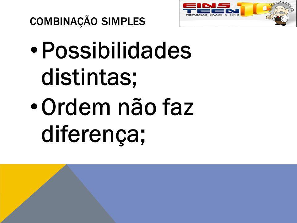 COMBINAÇÃO SIMPLES Possibilidades distintas; Ordem não faz diferença;