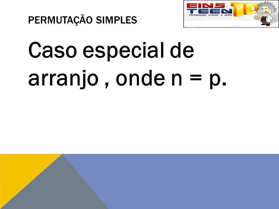 PERMUTAÇÃO SIMPLES Caso especial de arranjo, onde n = p.