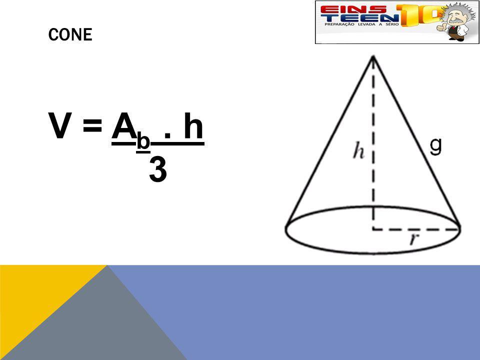 CONE V = A b. h 3