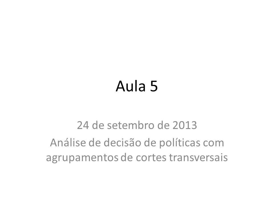 Aula 5 24 de setembro de 2013 Análise de decisão de políticas com agrupamentos de cortes transversais