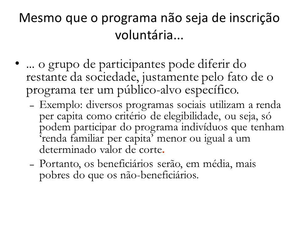 ... o grupo de participantes pode diferir do restante da sociedade, justamente pelo fato de o programa ter um público-alvo específico. – Exemplo: dive