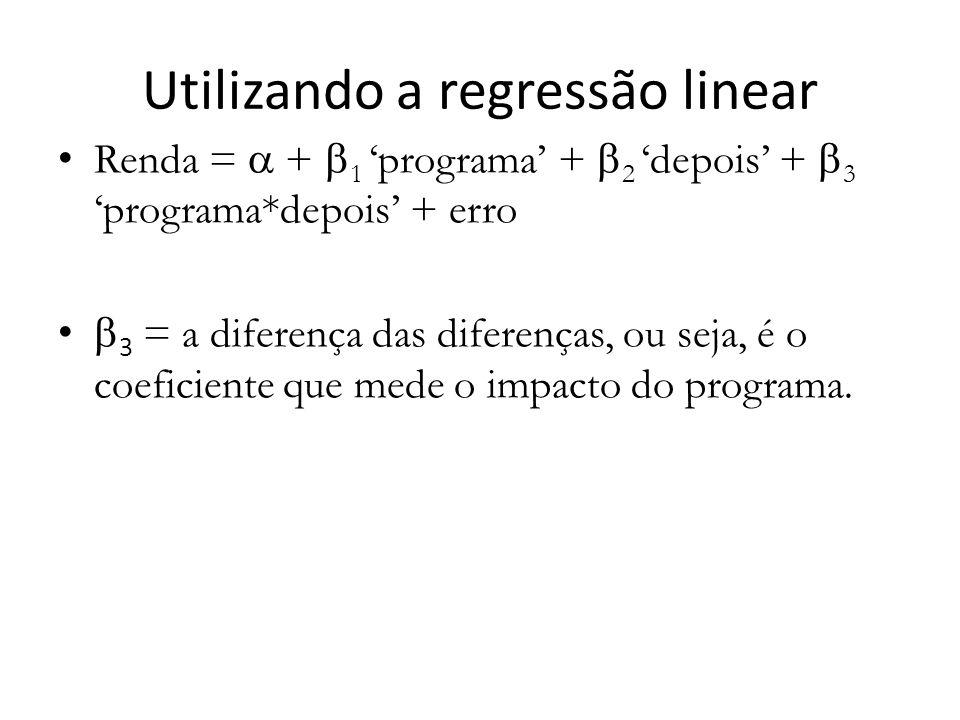 Utilizando a regressão linear Renda =  +  1 'programa' +  2 'depois' +  3 'programa*depois' + erro  3 = a diferença das diferenças, ou seja, é o coeficiente que mede o impacto do programa.