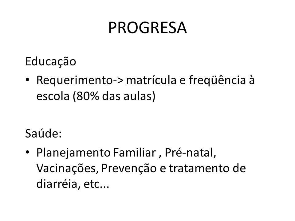 PROGRESA Educação Requerimento-> matrícula e freqüência à escola (80% das aulas) Saúde: Planejamento Familiar, Pré-natal, Vacinações, Prevenção e tratamento de diarréia, etc...