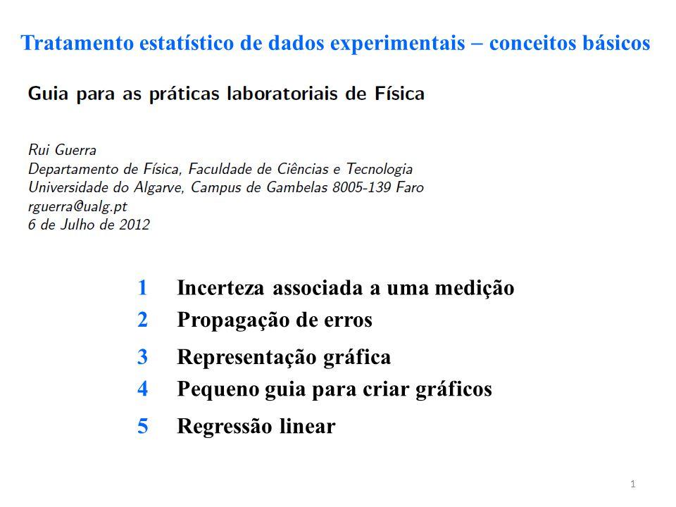 1 Tratamento estatístico de dados experimentais  conceitos básicos 1 Incerteza associada a uma medição 2 Propagação de erros 3 Representação gráfica
