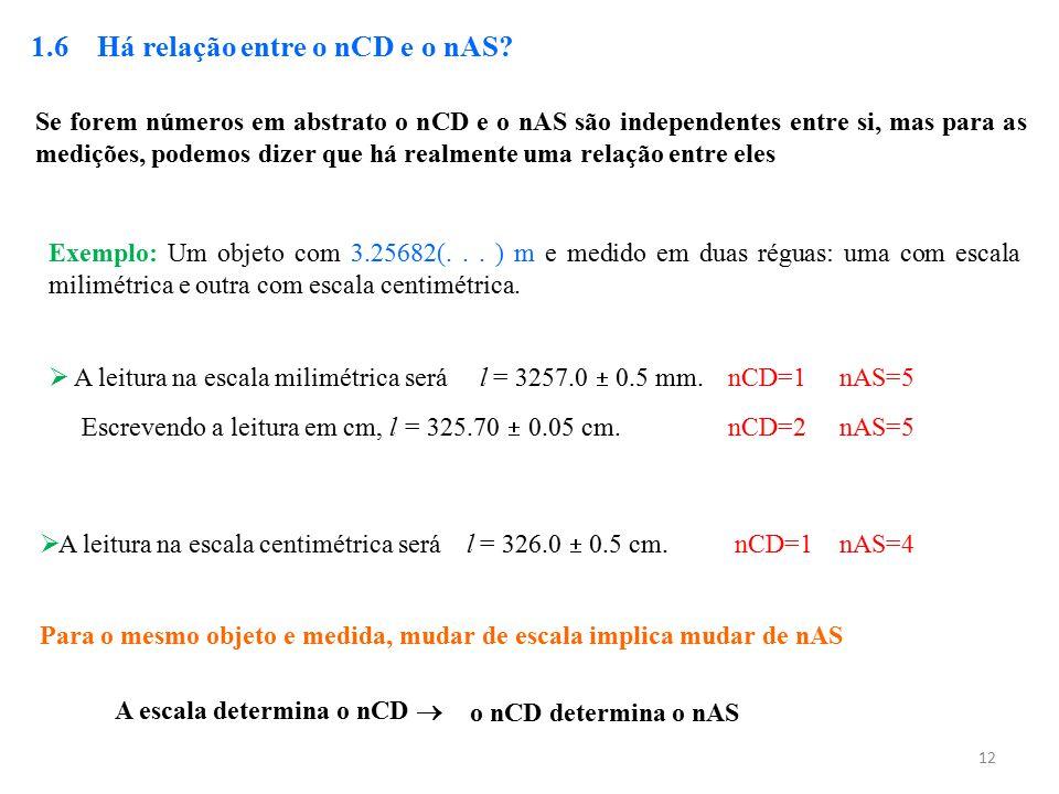 12 1.6 Há relação entre o nCD e o nAS? Se forem números em abstrato o nCD e o nAS são independentes entre si, mas para as medições, podemos dizer que