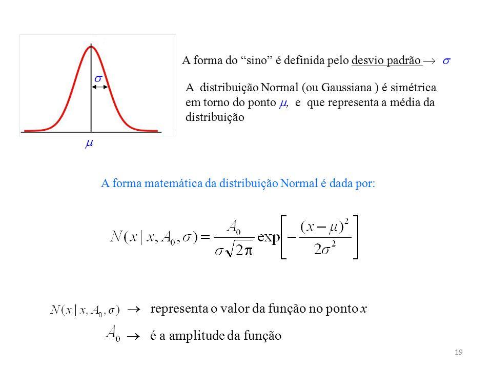 """19 A distribuição Normal (ou Gaussiana ) é simétrica em torno do ponto , e que representa a média da distribuição A forma do """"sino"""" é definida pelo d"""