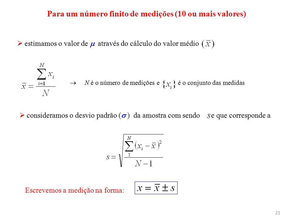 21  estimamos o valor de  através do cálculo do valor médio Para um número finito de medições (10 ou mais valores)  N é o número de medições e é o
