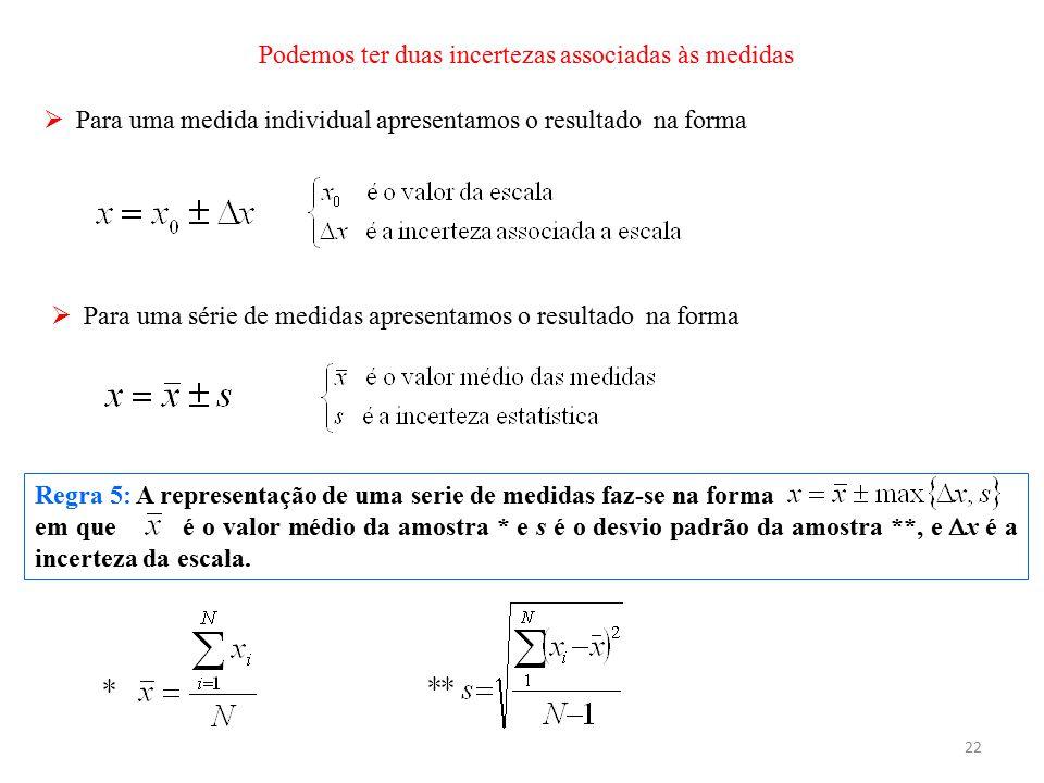 22 Regra 5: A representação de uma serie de medidas faz-se na forma em que é o valor médio da amostra * e s é o desvio padrão da amostra **, e  x é a