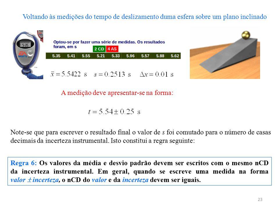 23 Regra 6: Os valores da média e desvio padrão devem ser escritos com o mesmo nCD da incerteza instrumental. Em geral, quando se escreve uma medida n