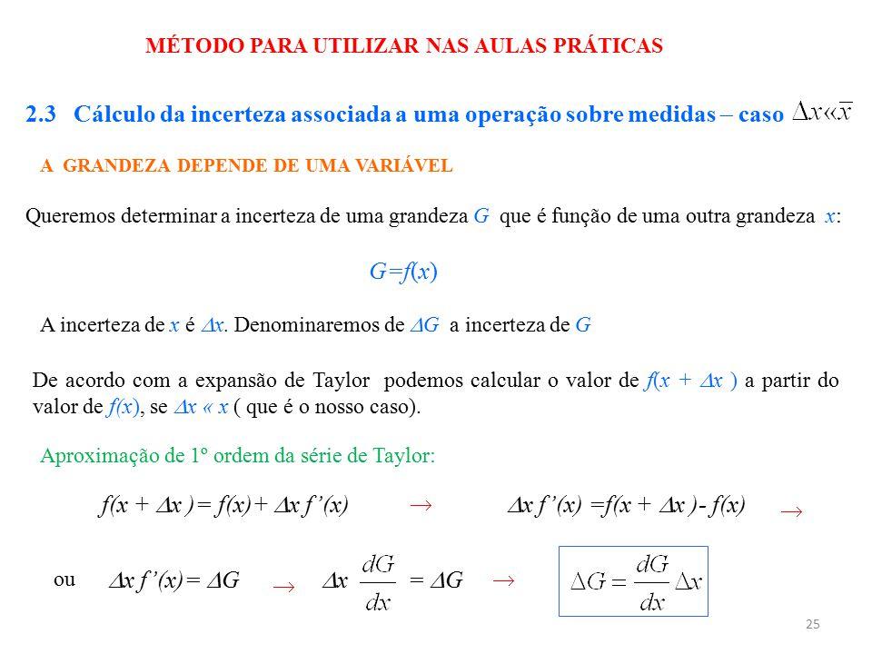25 MÉTODO PARA UTILIZAR NAS AULAS PRÁTICAS 2.3 Cálculo da incerteza associada a uma operação sobre medidas  caso A GRANDEZA DEPENDE DE UMA VARIÁVEL Q
