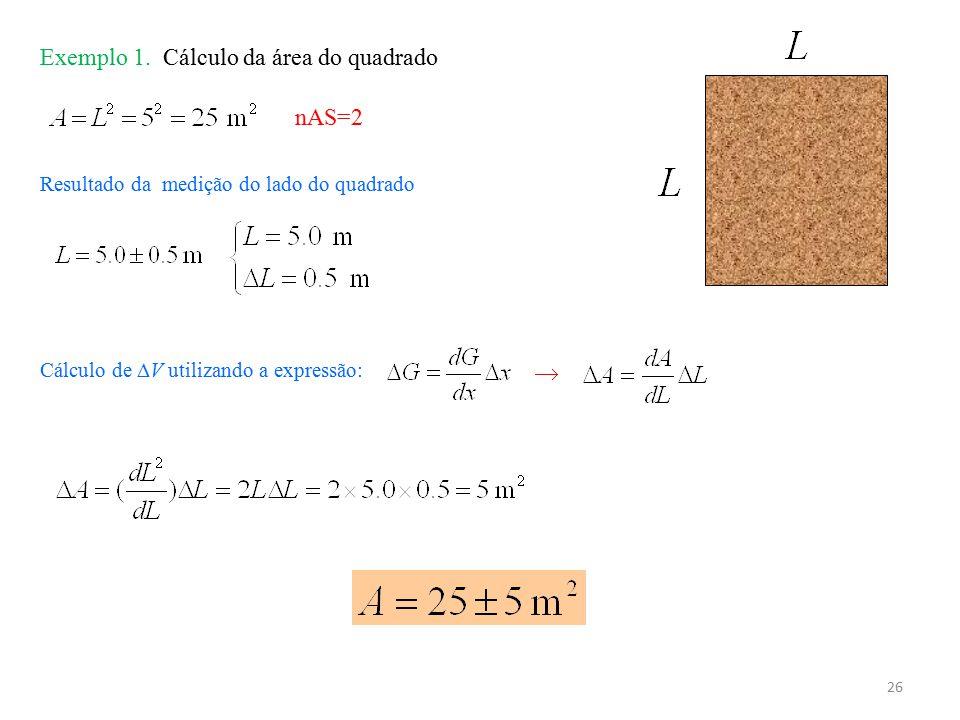 26 Exemplo 1. Cálculo da área do quadrado Resultado da medição do lado do quadrado nAS=2 Cálculo de  V utilizando a expressão: 