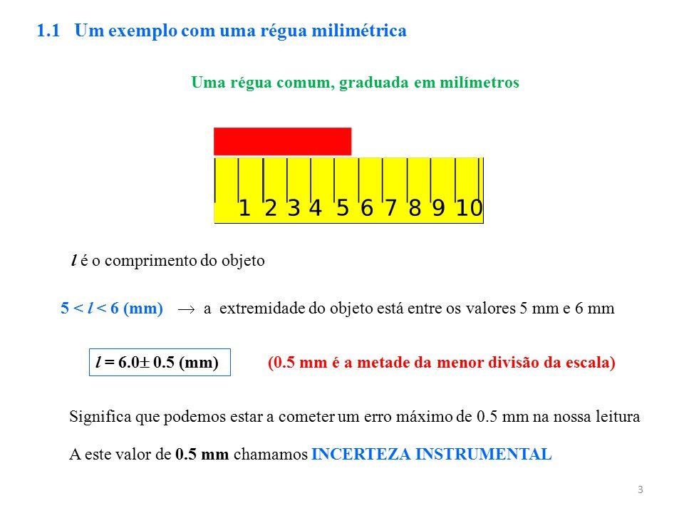 3 Uma régua comum, graduada em milímetros 1.1 Um exemplo com uma régua milimétrica  a extremidade do objeto está entre os valores 5 mm e 6 mm l é o c