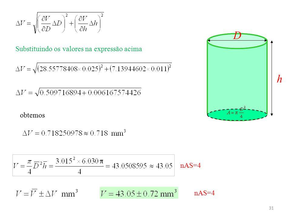 31 h D Substituindo os valores na expressão acima obtemos nAS=4