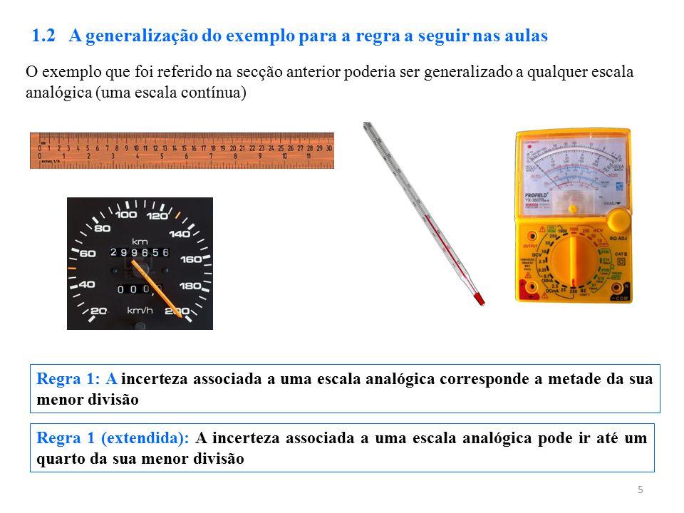 5 1.2 A generalização do exemplo para a regra a seguir nas aulas Regra 1: A incerteza associada a uma escala analógica corresponde a metade da sua men