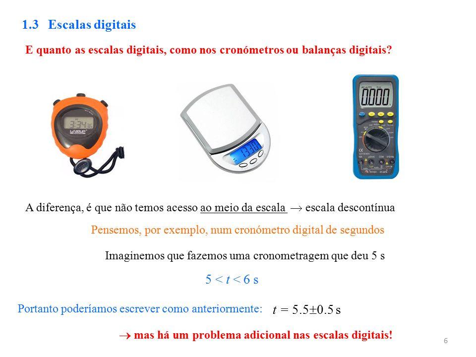 6 1.3 Escalas digitais E quanto as escalas digitais, como nos cronómetros ou balanças digitais? A diferença, é que não temos acesso ao meio da escala