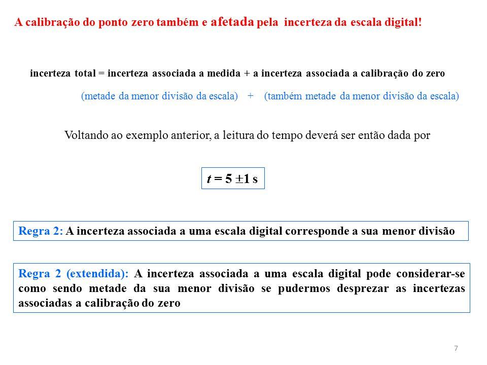 7 A calibração do ponto zero também e afetada pela incerteza da escala digital! incerteza total = incerteza associada a medida + a incerteza associada