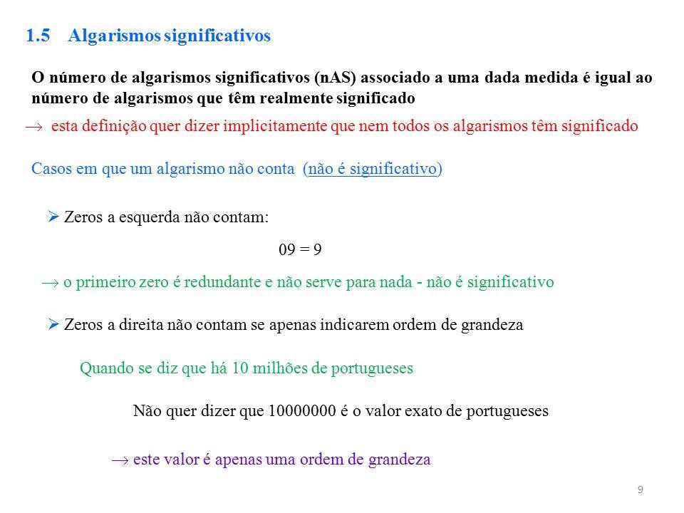 9 1.5 Algarismos significativos O número de algarismos significativos (nAS) associado a uma dada medida é igual ao número de algarismos que têm realme