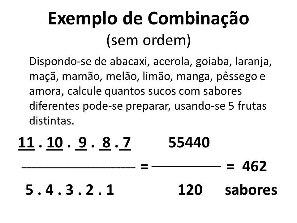 Exemplo de Combinação (sem ordem) Dispondo-se de abacaxi, acerola, goiaba, laranja, maçã, mamão, melão, limão, manga, pêssego e amora, calcule quantos sucos com sabores diferentes pode-se preparar, usando-se 5 frutas distintas.