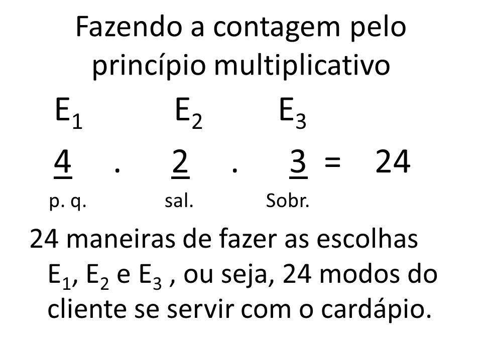 Fazendo a contagem pelo princípio multiplicativo E 1 E 2 E 3 4.