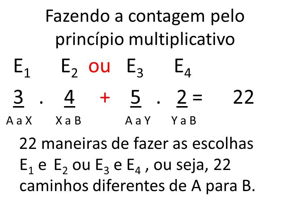 Fazendo a contagem pelo princípio multiplicativo E 1 E 2 ou E 3 E 4 3.