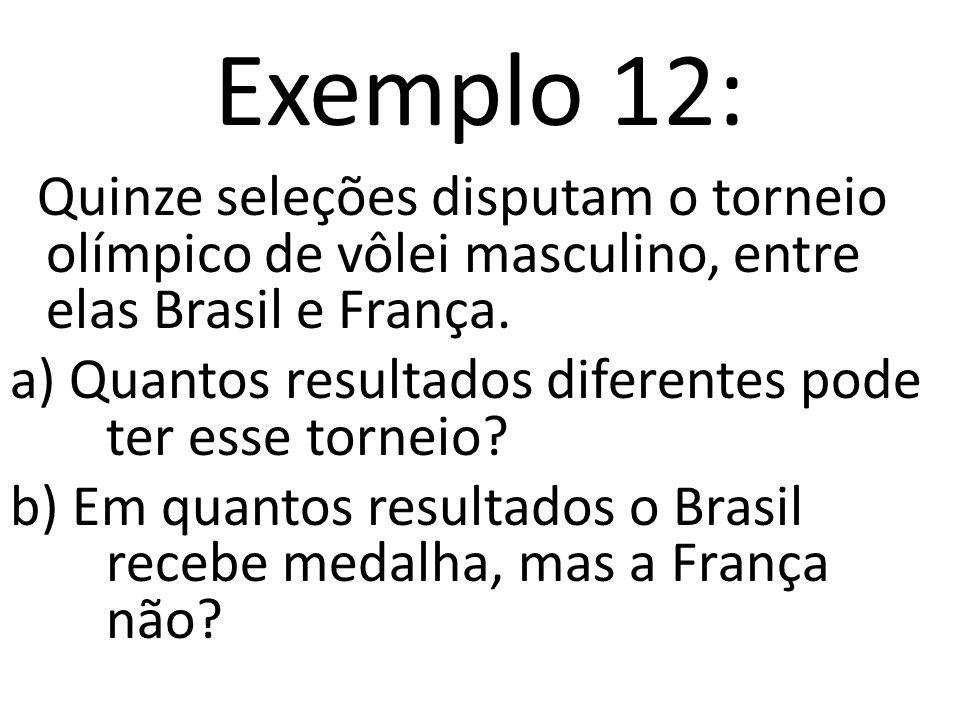 Exemplo 12: Quinze seleções disputam o torneio olímpico de vôlei masculino, entre elas Brasil e França.