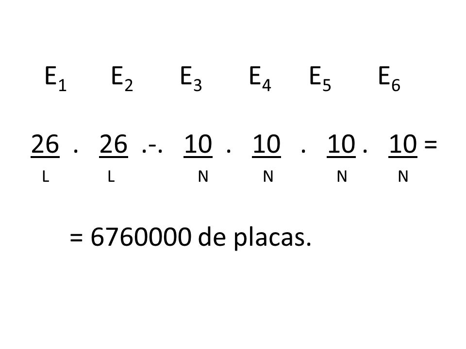 E 1 E 2 E 3 E 4 E 5 E 6 26. 26.-. 10. 10. 10. 10 = L L N N N N = 6760000 de placas.