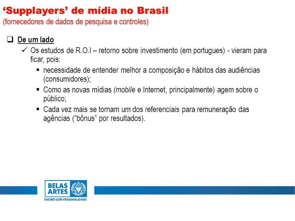  De um lado Os estudos de R.O.I – retorno sobre investimento (em portugues) - vieram para ficar, pois:  necessidade de entender melhor a composição