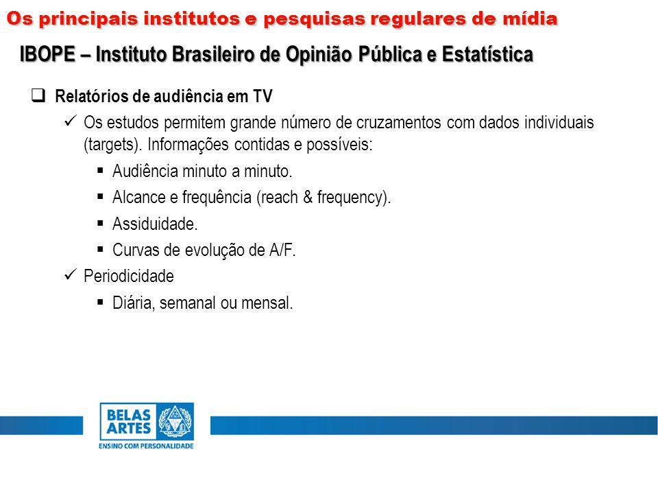  Relatórios de audiência em TV Os estudos permitem grande número de cruzamentos com dados individuais (targets). Informações contidas e possíveis: 