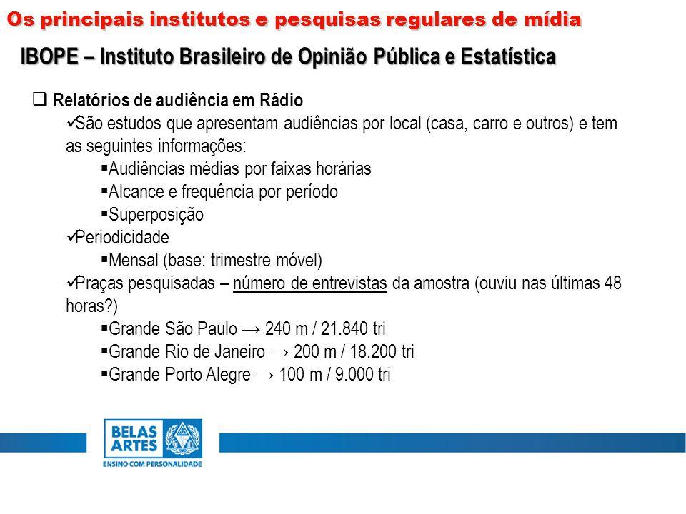  Relatórios de audiência em Rádio São estudos que apresentam audiências por local (casa, carro e outros) e tem as seguintes informações:  Audiências