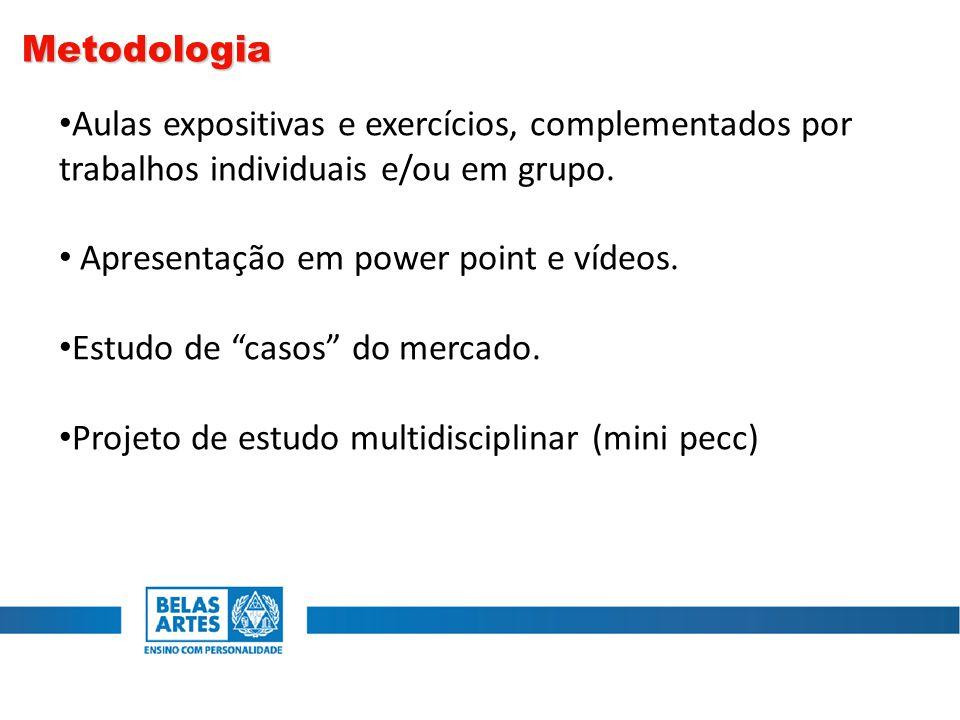 """Aulas expositivas e exercícios, complementados por trabalhos individuais e/ou em grupo. Apresentação em power point e vídeos. Estudo de """"casos"""" do mer"""