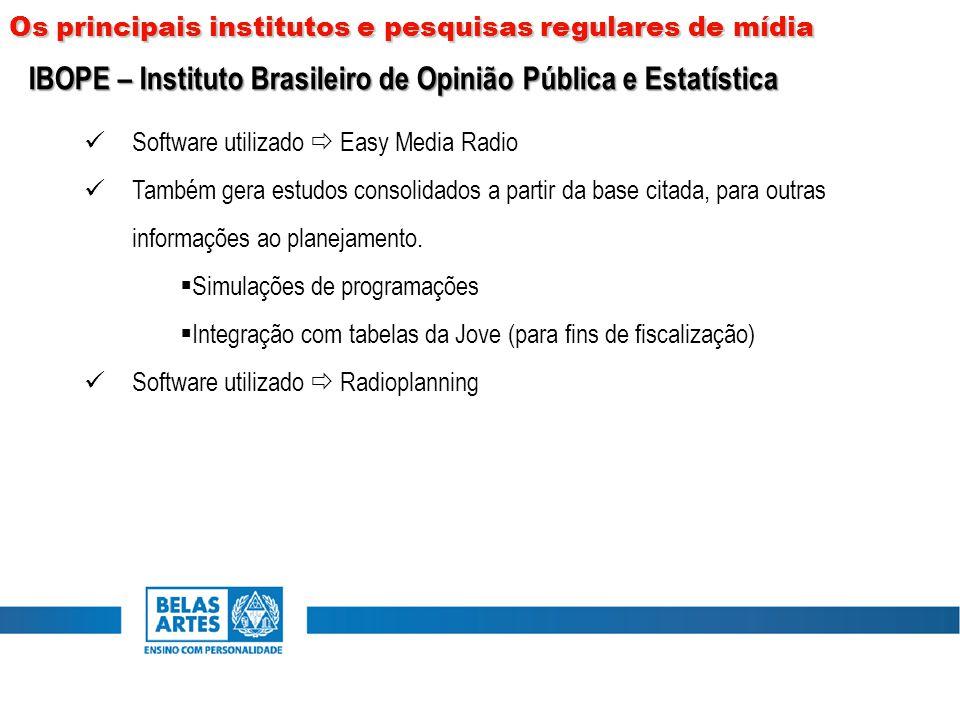 Software utilizado  Easy Media Radio Também gera estudos consolidados a partir da base citada, para outras informações ao planejamento.  Simulações