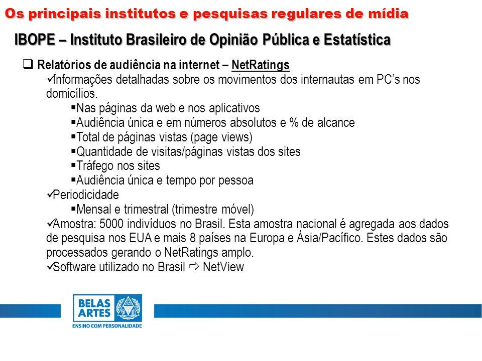 Os principais institutos e pesquisas regulares de mídia  Relatórios de audiência na internet – NetRatings Informações detalhadas sobre os movimentos