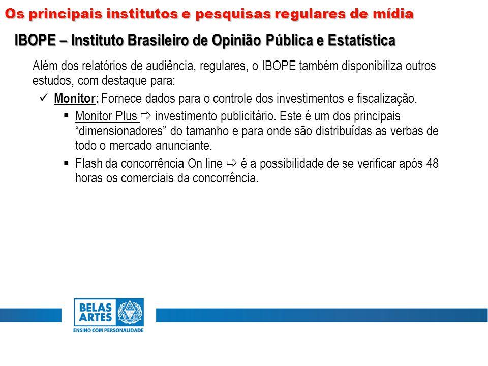 Além dos relatórios de audiência, regulares, o IBOPE também disponibiliza outros estudos, com destaque para: Monitor: Fornece dados para o controle do
