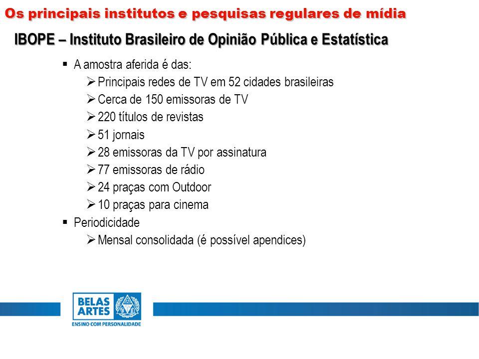  A amostra aferida é das:  Principais redes de TV em 52 cidades brasileiras  Cerca de 150 emissoras de TV  220 títulos de revistas  51 jornais 