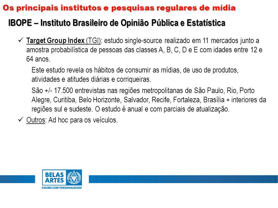 Target Group Index (TGI): estudo single-source realizado em 11 mercados junto a amostra probabilística de pessoas das classes A, B, C, D e E com idade