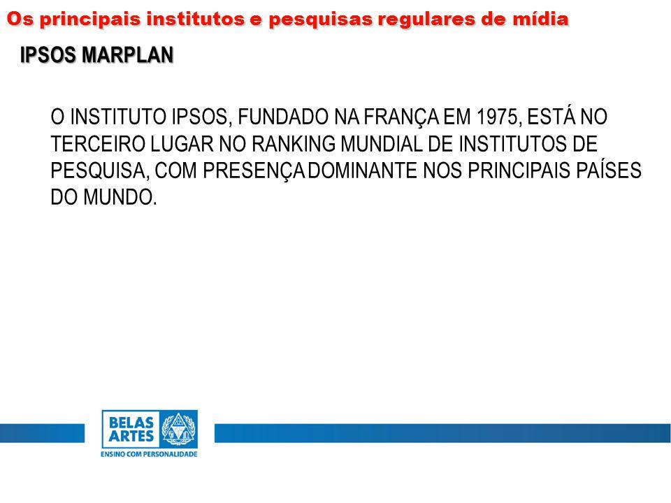 O INSTITUTO IPSOS, FUNDADO NA FRANÇA EM 1975, ESTÁ NO TERCEIRO LUGAR NO RANKING MUNDIAL DE INSTITUTOS DE PESQUISA, COM PRESENÇA DOMINANTE NOS PRINCIPA