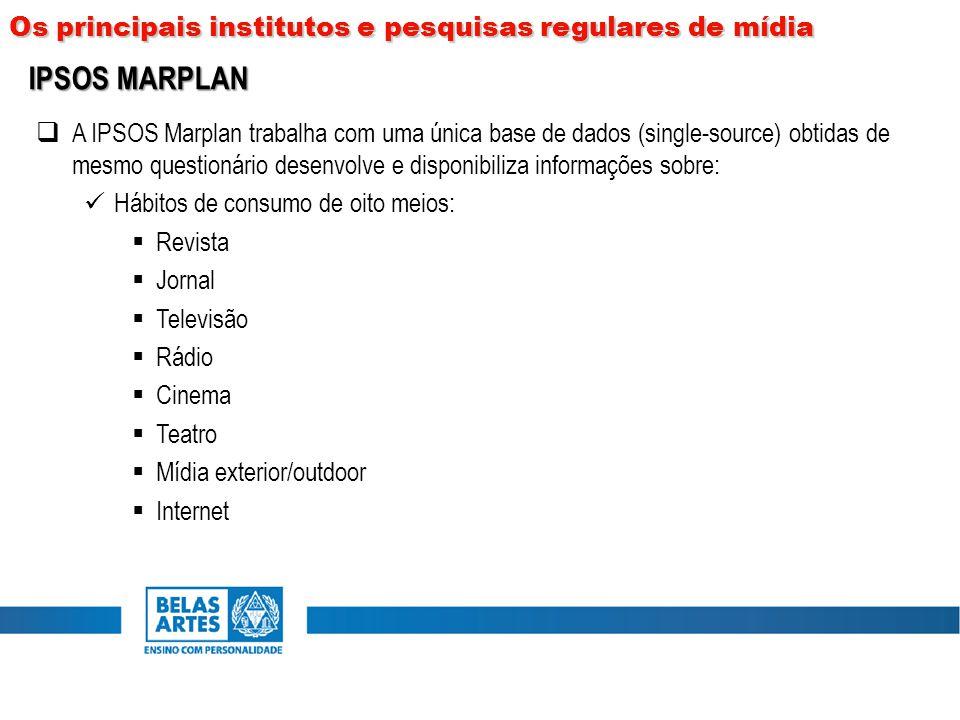  A IPSOS Marplan trabalha com uma única base de dados (single-source) obtidas de mesmo questionário desenvolve e disponibiliza informações sobre: Háb