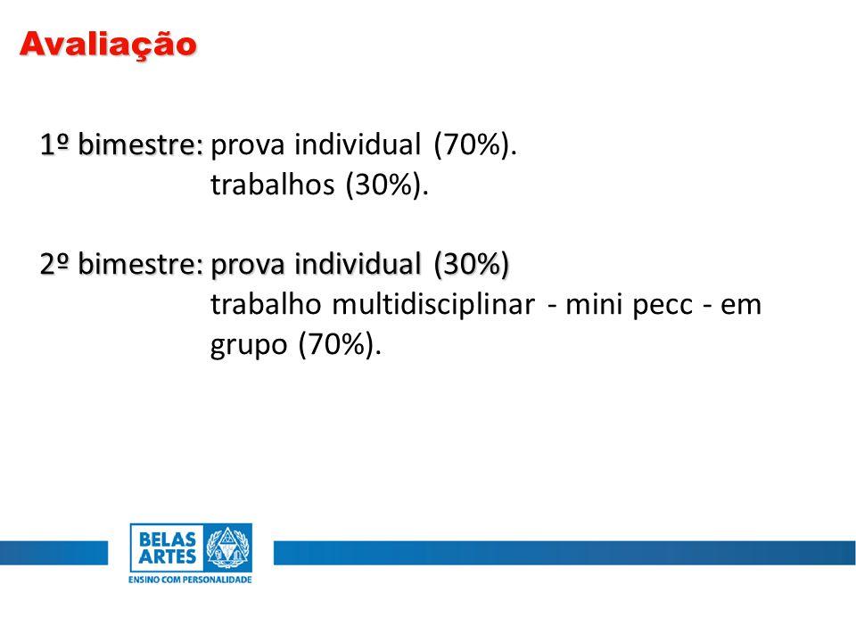 1º bimestre: 1º bimestre:prova individual (70%). trabalhos (30%). 2º bimestre:prova individual (30%) trabalho multidisciplinar - mini pecc - em grupo