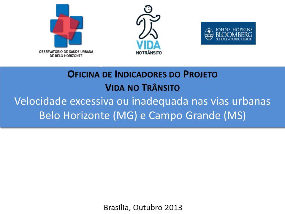 Projeto Vida no Trânsito O FICINA DE I NDICADORES DO P ROJETO V IDA NO T RÂNSITO Velocidade excessiva ou inadequada nas vias urbanas Belo Horizonte (M