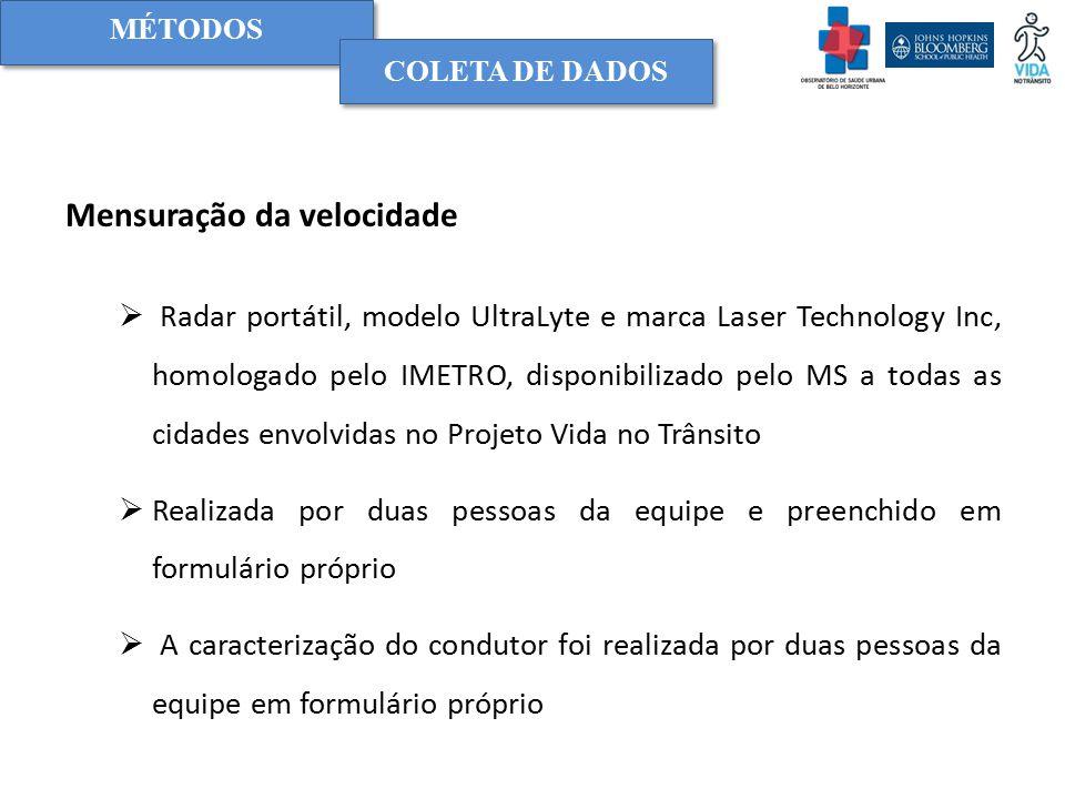 Mensuração da velocidade  Radar portátil, modelo UltraLyte e marca Laser Technology Inc, homologado pelo IMETRO, disponibilizado pelo MS a todas as c