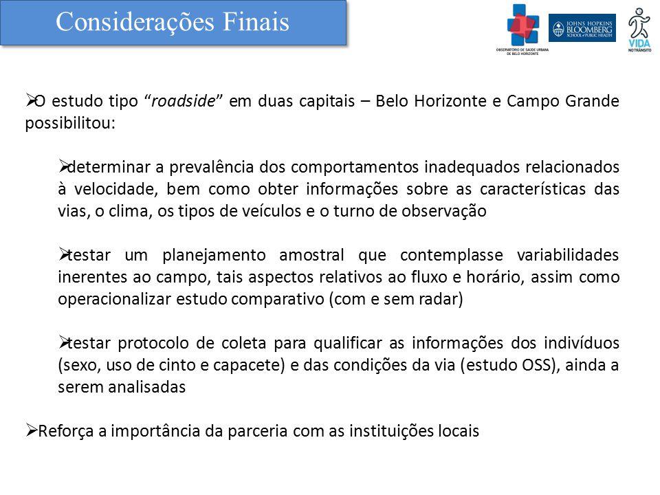 """Considerações Finais  O estudo tipo """"roadside"""" em duas capitais – Belo Horizonte e Campo Grande possibilitou:  determinar a prevalência dos comporta"""