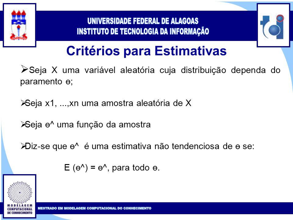 Clique para editar o estilo do título mestre Clique para editar o estilo do subtítulo mestre 15 Critérios para Estimativas  Seja X uma variável aleatória cuja distribuição dependa do paramento ө;  Seja x1,...,xn uma amostra aleatória de X  Seja ө^ uma função da amostra  Diz-se que ө^ é uma estimativa não tendenciosa de ө se: E (ө^) = ө^, para todo ө.