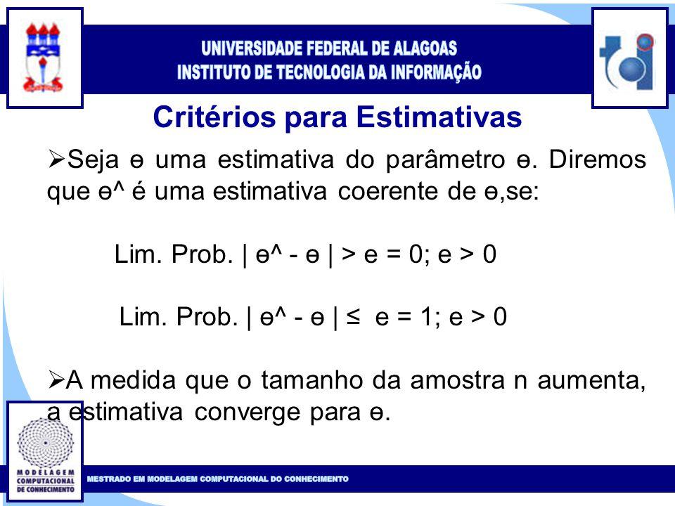 Clique para editar o estilo do título mestre Clique para editar o estilo do subtítulo mestre 17 Critérios para Estimativas  Seja ө uma estimativa do parâmetro ө.