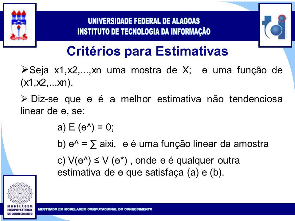 Clique para editar o estilo do título mestre Clique para editar o estilo do subtítulo mestre 18 Critérios para Estimativas  Seja x1,x2,...,xn uma mostra de X; ө uma função de (x1,x2,...xn).
