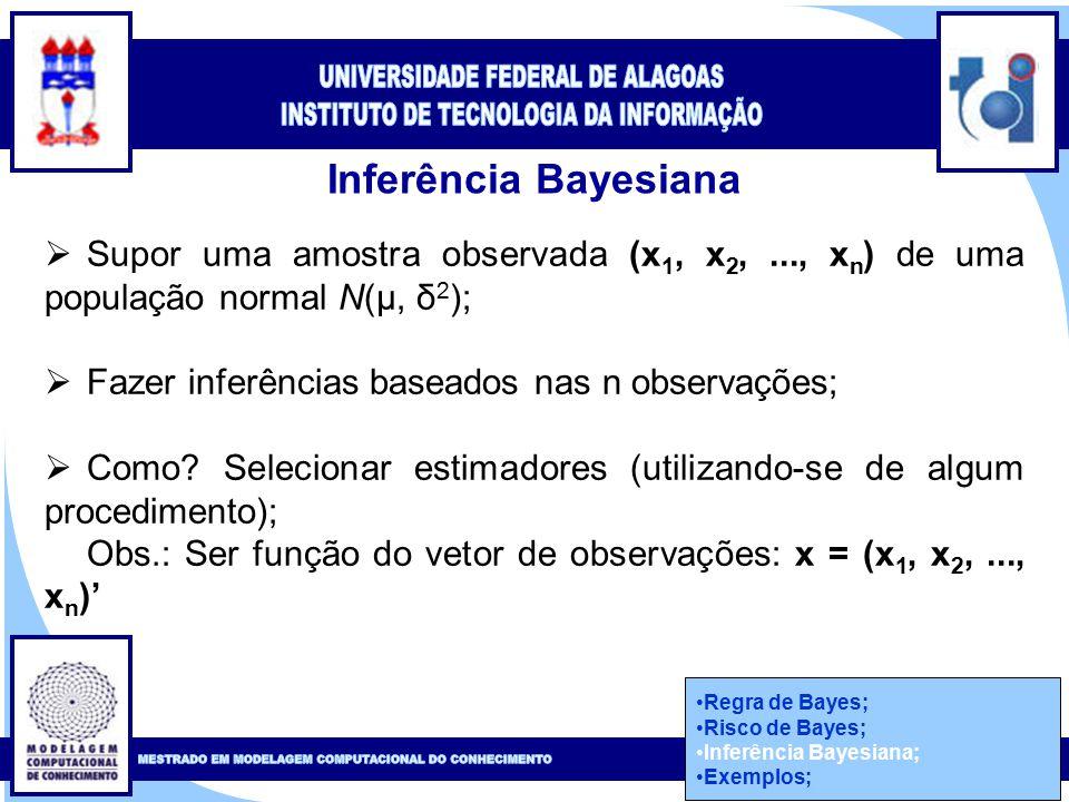 Clique para editar o estilo do título mestre Clique para editar o estilo do subtítulo mestre 41 Inferência Bayesiana  Supor uma amostra observada (x 1, x 2,..., x n ) de uma população normal N(μ, δ 2 );  Fazer inferências baseados nas n observações;  Como.