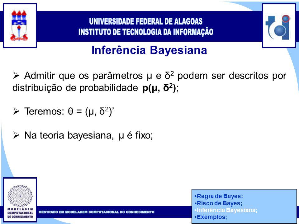 Clique para editar o estilo do título mestre Clique para editar o estilo do subtítulo mestre 42 Inferência Bayesiana  Admitir que os parâmetros μ e δ 2 podem ser descritos por distribuição de probabilidade p(μ, δ 2 );  Teremos: θ = (μ, δ 2 )'  Na teoria bayesiana, μ é fixo; Regra de Bayes; Risco de Bayes; Inferência Bayesiana; Exemplos;
