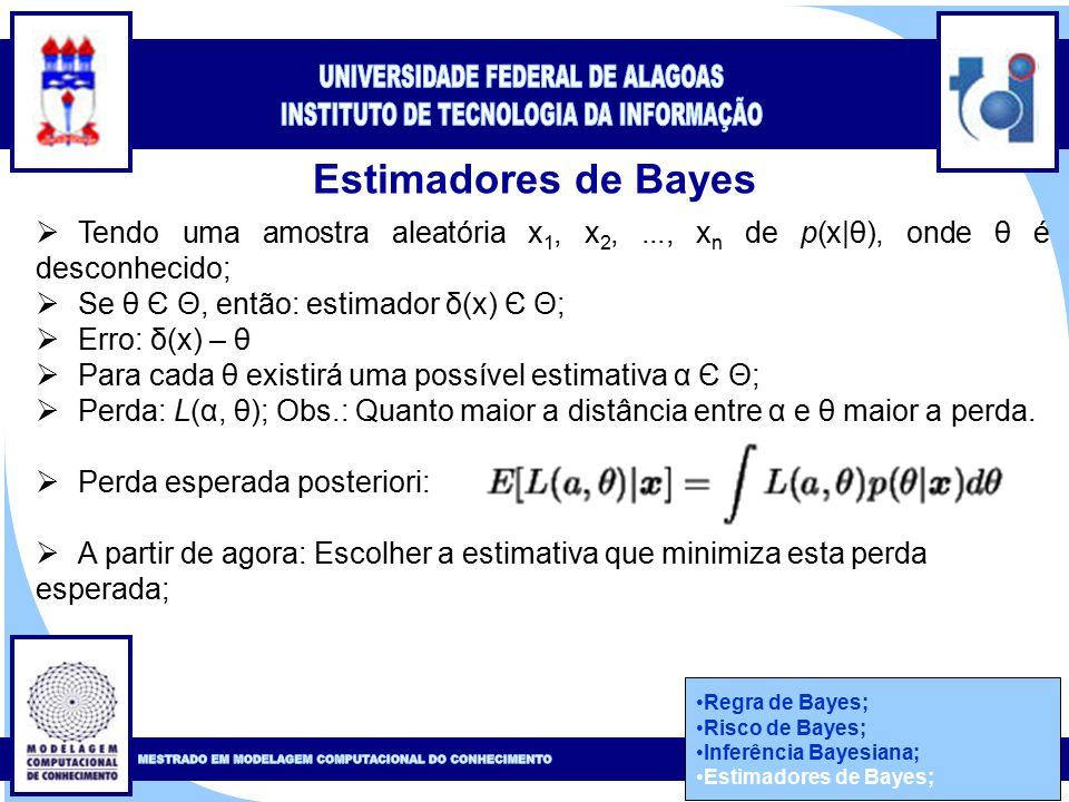 Clique para editar o estilo do título mestre Clique para editar o estilo do subtítulo mestre 47 Estimadores de Bayes Regra de Bayes; Risco de Bayes; Inferência Bayesiana; Estimadores de Bayes;  Tendo uma amostra aleatória x 1, x 2,..., x n de p(x|θ), onde θ é desconhecido;  Se θ Є Θ, então: estimador δ(x) Є Θ;  Erro: δ(x) – θ  Para cada θ existirá uma possível estimativa α Є Θ;  Perda: L(α, θ); Obs.: Quanto maior a distância entre α e θ maior a perda.