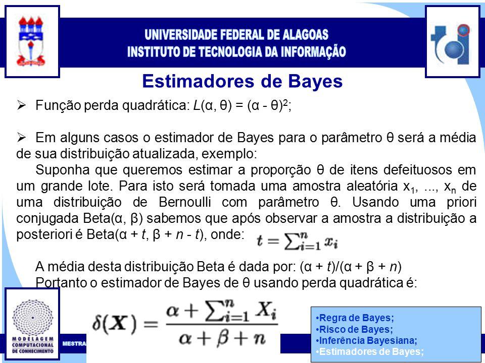 Clique para editar o estilo do título mestre Clique para editar o estilo do subtítulo mestre 48 Estimadores de Bayes Regra de Bayes; Risco de Bayes; Inferência Bayesiana; Estimadores de Bayes;  Função perda quadrática: L(α, θ) = (α - θ) 2 ;  Em alguns casos o estimador de Bayes para o parâmetro θ será a média de sua distribuição atualizada, exemplo: Suponha que queremos estimar a proporção θ de itens defeituosos em um grande lote.